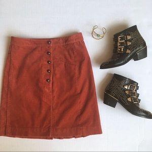 Anthropologie Cartonnier Burnt Orange Skirt